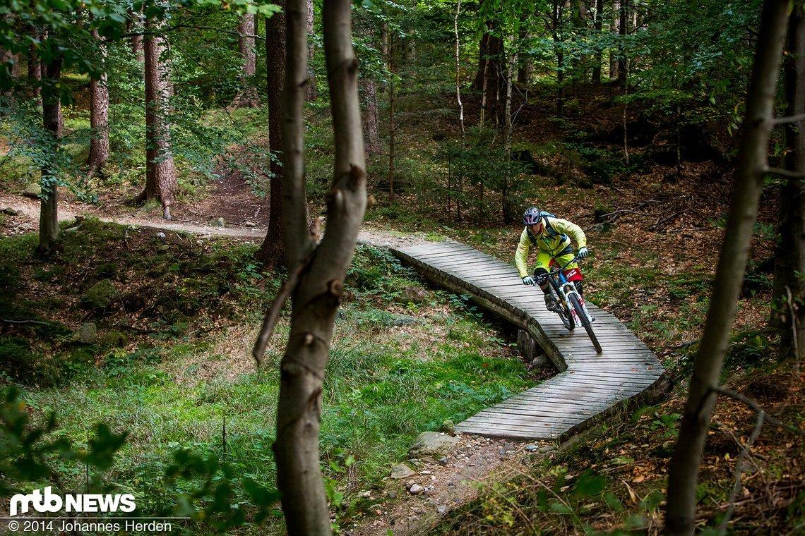 Ab und an führen kleine Holzbrücken über allzu unwegsames Gelände - oder Bäche und Rinnsale
