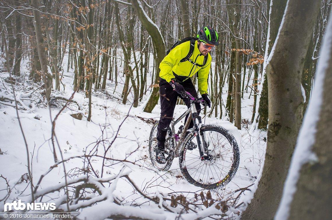 Hannes unterwegs im verschneiten Forst