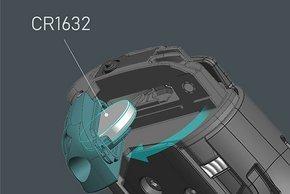 Die Energie für den Funk kommt aus einer CR1632 Knopfzelle