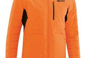 """Die Mula-Primaloft-Jacke kommt im schlichen schwarz oder, wie hier im Bild, in """"red orange"""" daher"""