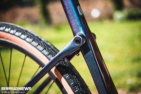 Flexende Carbon-Kettenstreben mit Drehgelenk im Sitzrohr bilden die Federung am Hinterbau