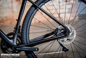 Abgeflachtes Sitzrohr für viel Reifenfreiheit