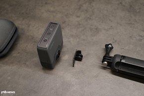 Fusion-Kamera, Aufnahmeadapter und Handgriff.