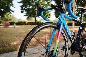 Die Regenbogen-Farben an der Gabel kamen für eine Charity Aktion des Teams hinzu