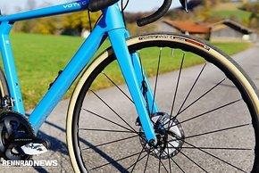 Der Vittoria Corsa ist auf einem Mavic Laufradsatz montiert