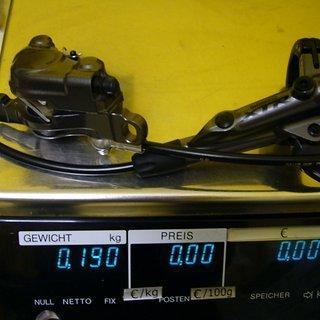 Gewicht Shimano Scheibenbremse XTR BR-M9000 VR, 1000mm