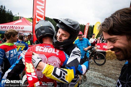 Konkurrenten unter sich: Fabian Scholz und Christian Textor lieferten sich bei der Deutschen Meisterschaft 2016 einen extrem engen Kampf