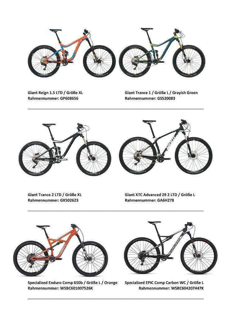 #3 Auswahl der gestohlenen Räder bei Firebike