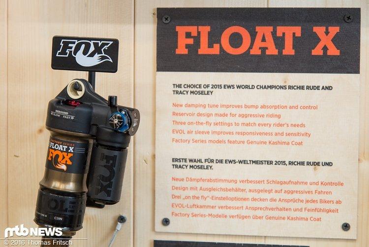 Der Float X, der bewährte Dämpfer kommt in der EWS am Bike von Richie Rude und Tracey Moseley zum Einsatz