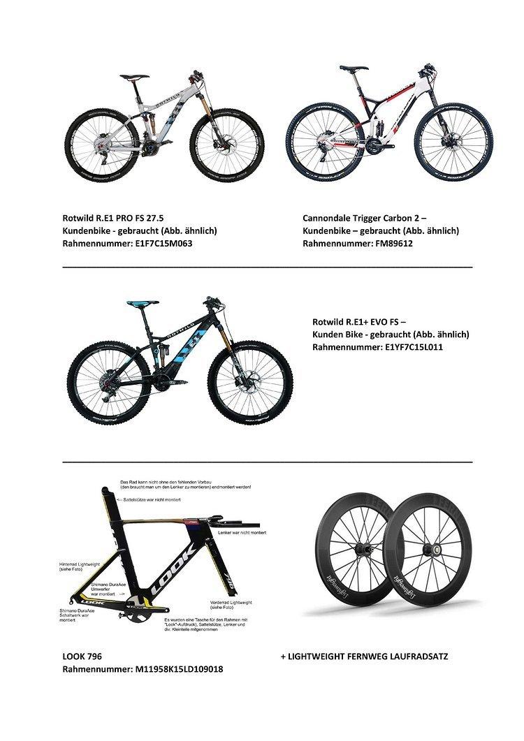 #5 Auswahl der gestohlenen Räder bei Firebike